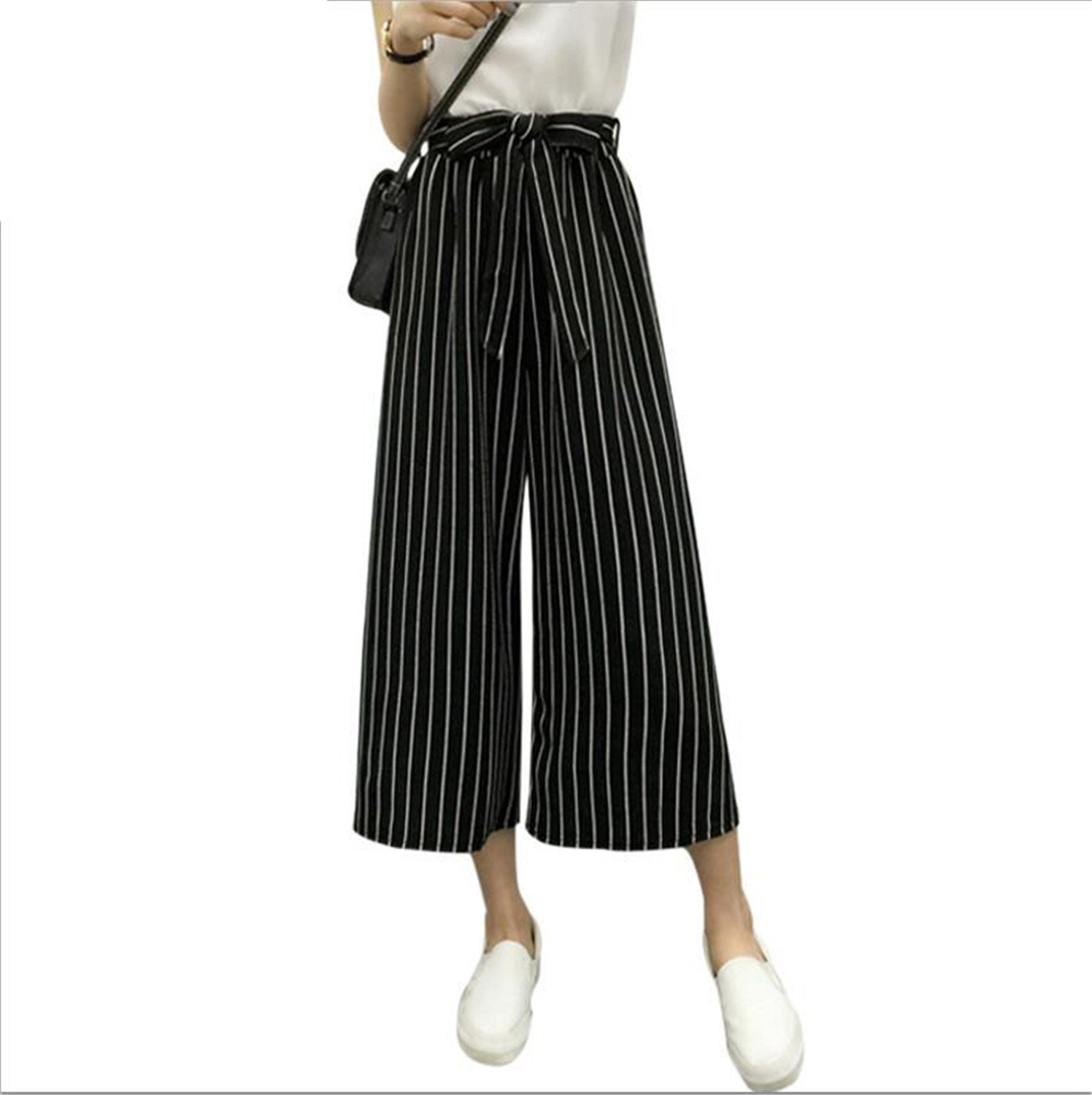 Fashion Summer Hot Selling Ladies Office Trousers Loose Wide Leg Pants Woman High Waist OL Casual Office Pants for Women Fine Black Bars M
