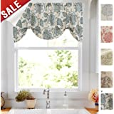Tie Up Valances for Kitchen Windows Jacobean Floral Printed Tie-up Valance Curtains Rod Pocket Adjustable Rustic Linen Textured Tie-up Shade for Small Windows 20 Inches Long (1 Panel, Teal)