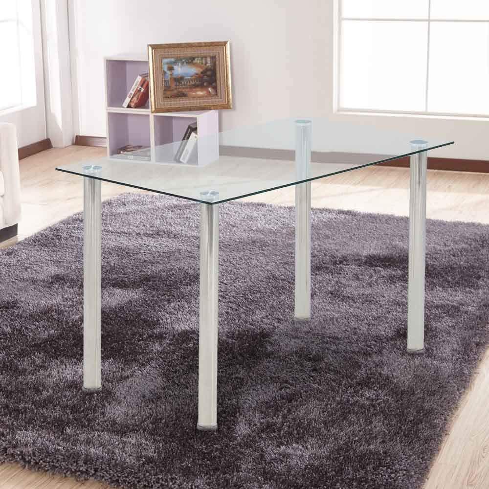 Ohana White Modern Tempered Glass Dining Table Set Rectangular Transparent  Kitchen Tables Metal Legs