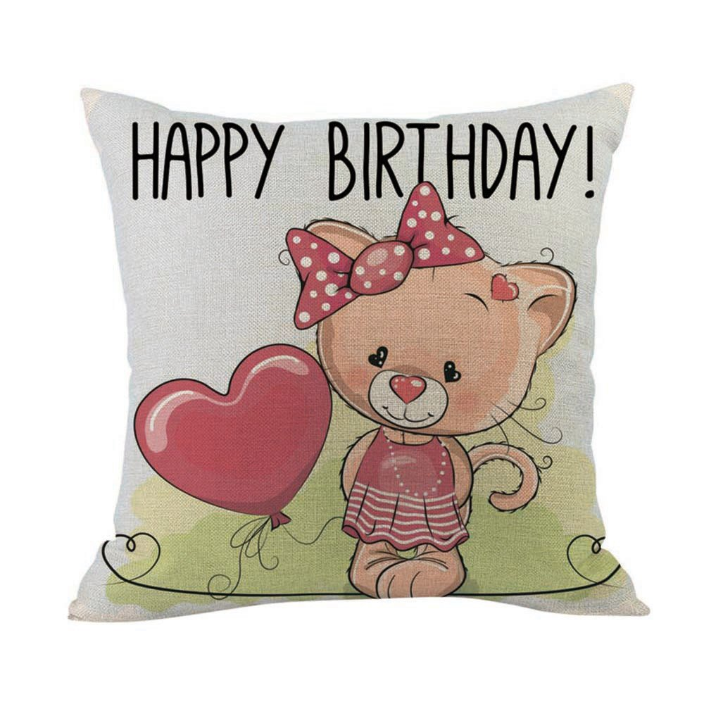 Special for Celebration iYBUIA Happy Valentine Pillow Cases Cotton Linen Sofa Cushion Cover Home Decor