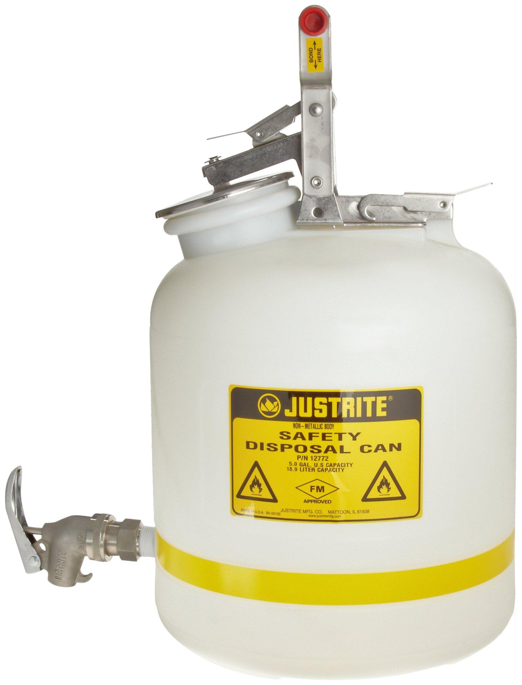 Justrite 12772 5 Gallon Capacity, 12.0'' OD x 20'' HT Laboratory Faucet Premium White Translucent Polyethylene Safety Can