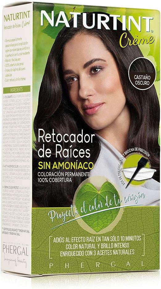Naturtint Retocador de Raíces Sin Amoníaco, Castaño Oscuro, 100% Cobertura 45 ml