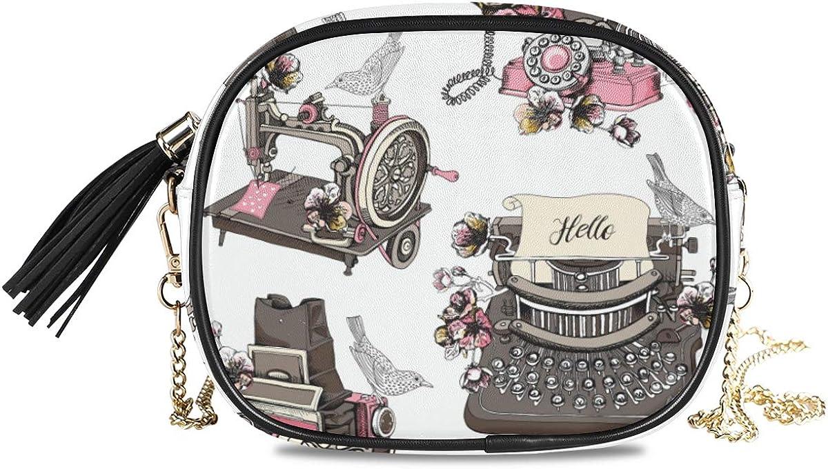 DXG1 Mini bolso de mano con borla para mujer con diseño de máquina de coser