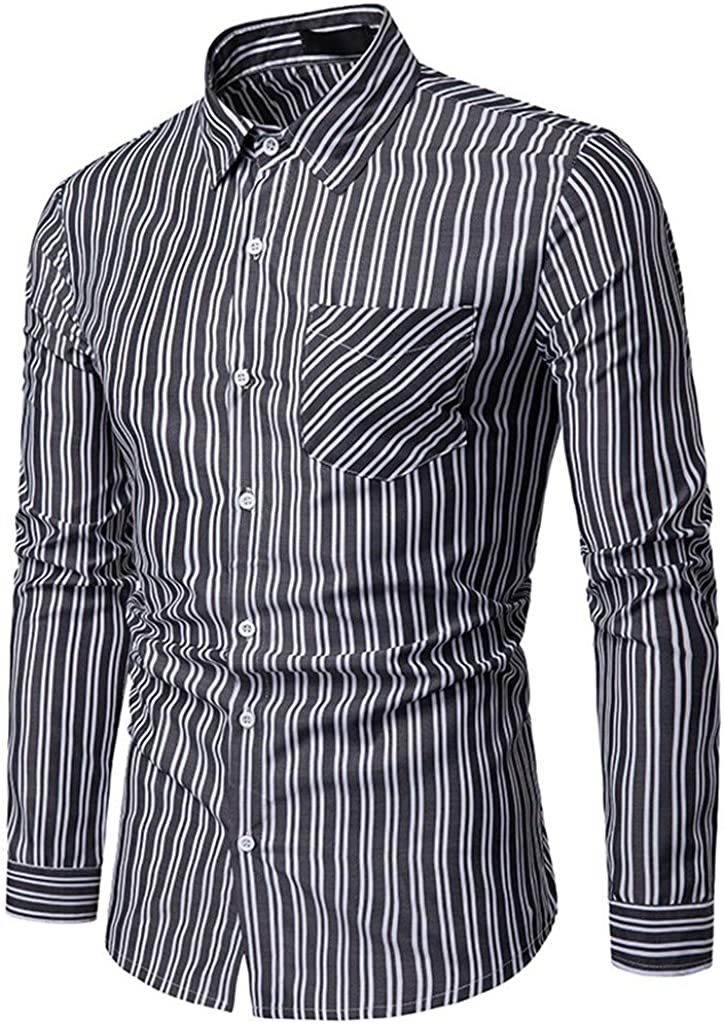 WM /& MW New Mens Casual Business Shirt Slim Fit Long Sleeve Striped Pocket Button Shirt Lapel Blouse Top