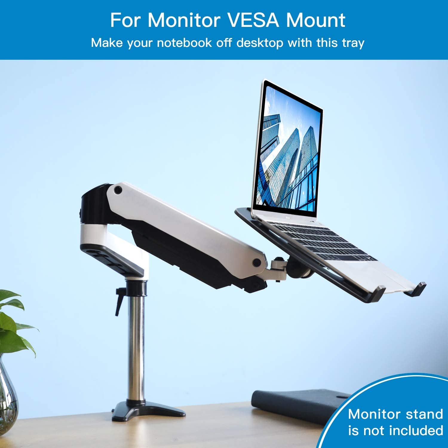 22lbs Capacity with Vented Cooling Platform Laptop Tray Steel Notebook Holder for Monitor VESA Mount Stand Fits VESA 100x100 mm Mounting Holes