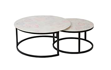 Shinawood 2 Pcs Round Side Table Small Size Coffee Table Nest Of 2