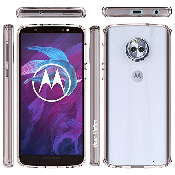 Bear Motion for Moto G6 Plus Verizon Version Only with Shockproof TPU  Bumper and Scratch Proof PC Back Cover (Pink, Moto G6 Plus Verizon Version  Only)