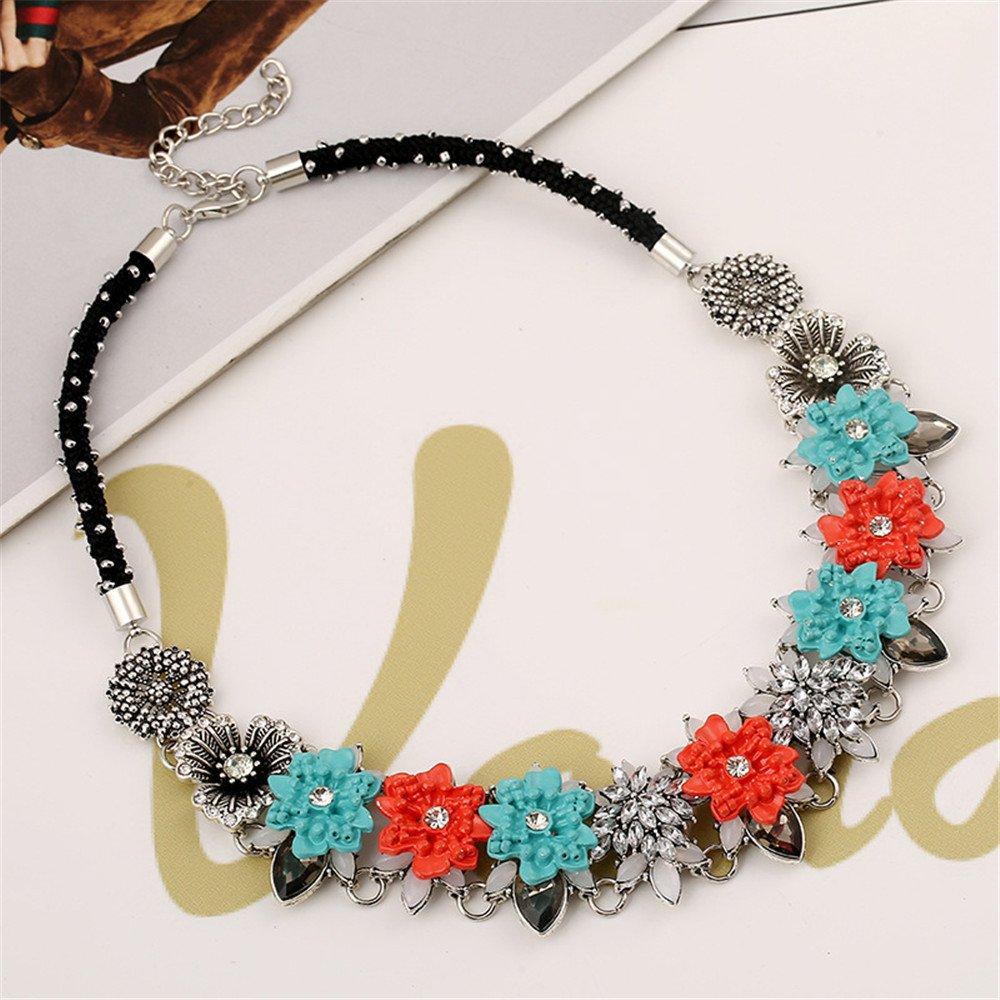 Fashion CZ Colorful Gems Flowers Charm Necklace Collar Bib for Women