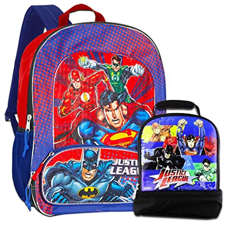 3907d87a38f3 Justice League Backpack with Lunch Box -- Deluxe Backpack with Insulated  Lunch Kit (Featuring Batman, Superman, Green Lantern, Flash)