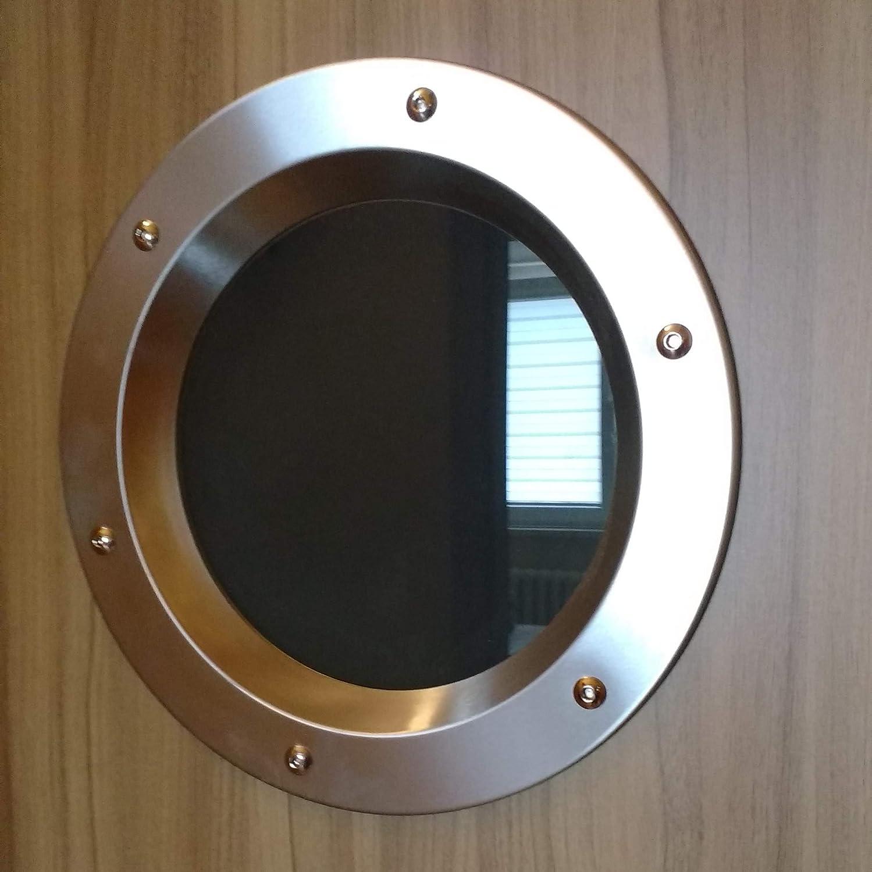 Ojo de buey para puerta de acero inoxidable INOX, diámetro de 350 mm, vidrio transparente, tuercas de collar.