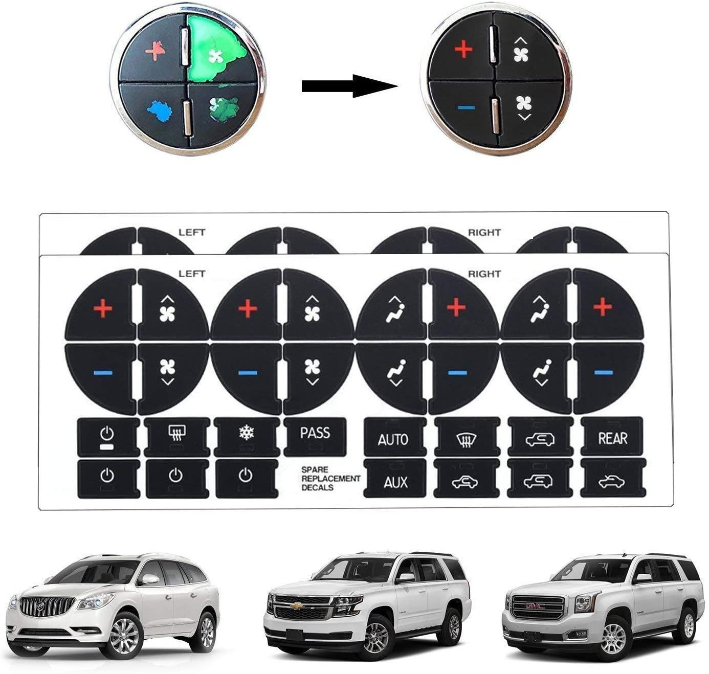 9 Sets GM Button Decals Chevrolet Acadia Traverse Repair Sticker Climate Control