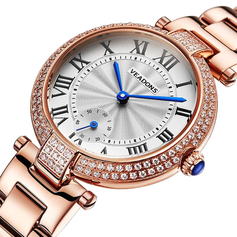 veadons Damen Armband Uhren Bewegung Wasser Widerstand-Band - Armbanduhr