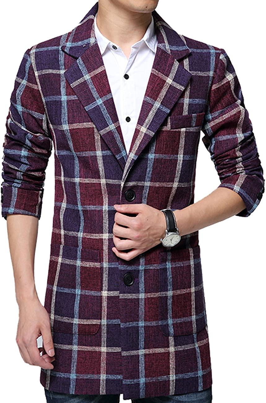 Niaona Mens Plaid Two-Button Tweed Jacket Notched Lapel Patch Pocket Long Wool Blazer