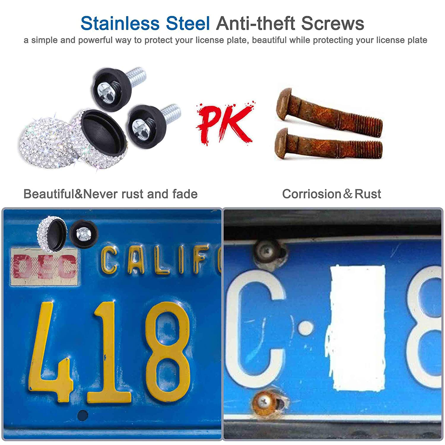 WINKA License Plate Anti Theft Screws Stainless Steel Security Screws Tamper Proof Protection for License Plates on Vehicles Trucks 4pcs Black