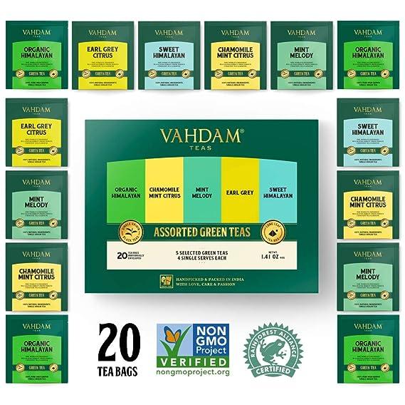 VAHDAM, surtido de té verde | 5 tés, 4 bolsitas de té de pirámide