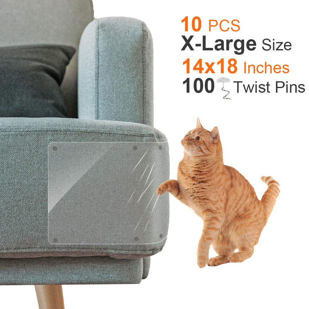 Outkitkit 10 Pack Furniture Protectors from Cats, Furniture Scratch Guards, 14'' x 18'' X-Large Self-Adhesive Couch Protectors Stop Cat Scratching Furniture with 100 Twist Pins by Outkitkit