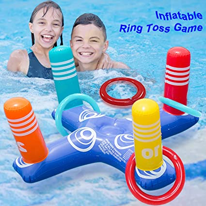 Amazon.com: Inflatable Floating Ring Toss Game Set Pool Toys Games ...