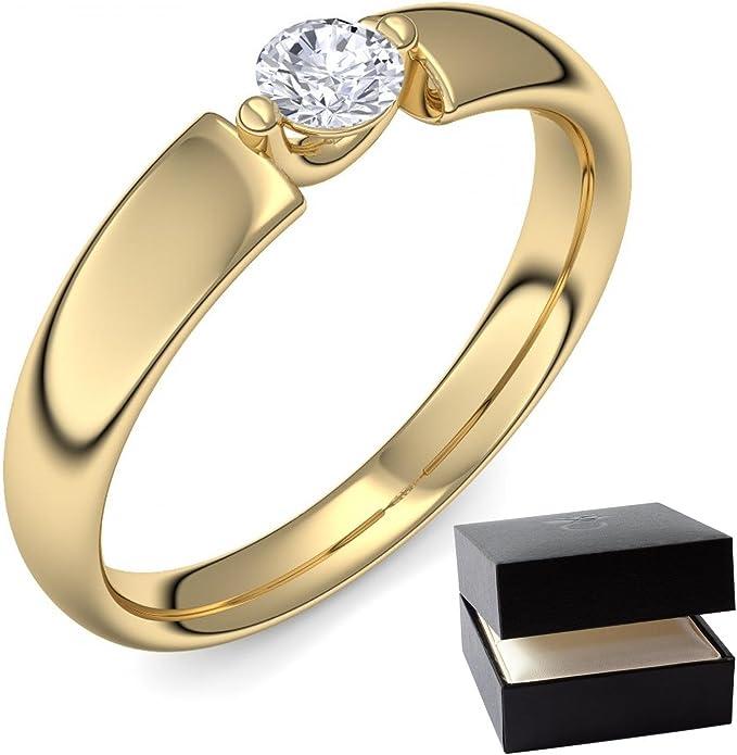 Compromiso anillos Gold Ring Diamond 750 + con Estuche + diamante oro diamante anillo oro 0.18 carat TW/VS (oro 750) - amazing Amoonic joyería AM54 GG750BRFA: Amazon.es: Joyería