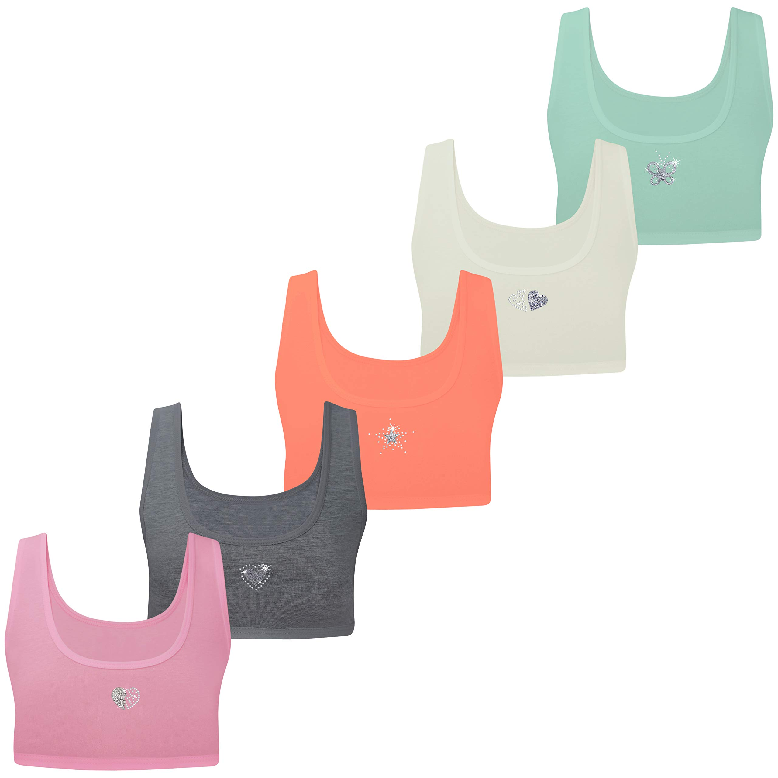 Girls Sports Bras Pack of 5 Cotton Diamante Glitter Strappy Top