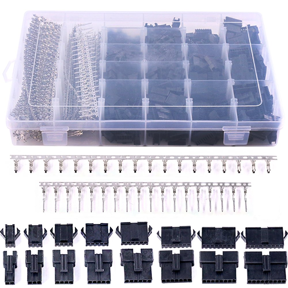Glarks 1940Pcs 2.5mm Pitch JST-SM 2/3 / 4/5 / 6/7 / 8/9 Pin Male and Female Plug Housing and Male/Female Pin Header Connector Assortment Kit