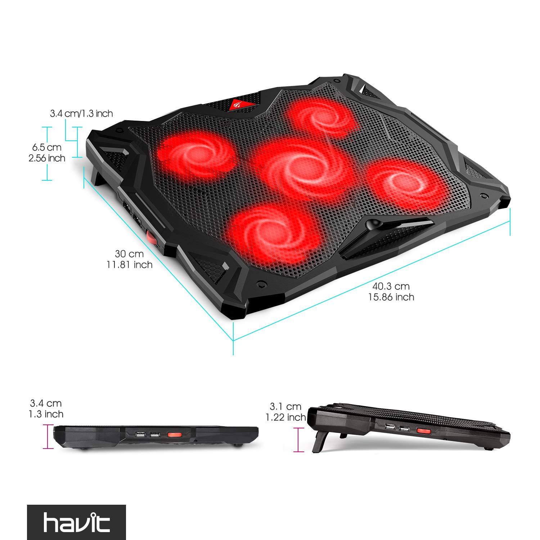 HAVIT 5 Fans Laptop Cooling Pad for 14-17 Inch Laptop, Cooler Pad with LED Light, Dual USB 2.0 Ports, Adjustable Mount Stand (Black) by Havit (Image #9)