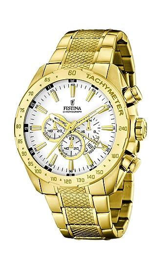 Festina F16878/1 - Reloj de Pulsera Hombre, Acero Inoxidable, Color Dorado: Amazon.es: Relojes
