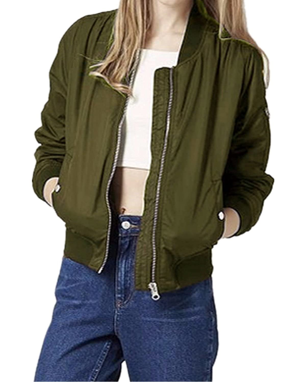 afb5f4748 Cool and Stylish Short Bomber Jacket, Lightweight, Long sleeve, Zipper  Design, Short Zipper Feature on the Sleeve, Short Biker,Classic Quilted Coat.  Warm ...