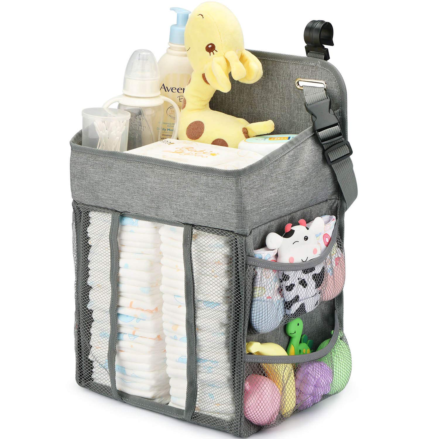 Changing Table Diaper Organizer - Baby Hanging Diaper Stacker Nursery Caddy Organizer for Cribs Playard Baby Essentials Storage (Gray) by Maliton