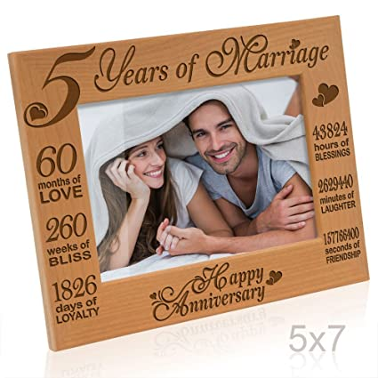 Amazon.com - Kate Posh - 5 Years of Marriage Photo Frame - Happy 5th Anniversary Gift Wood - Engraved Natural Solid Wood Picture Frame (5x7-Horizontal) -