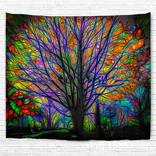 Colorful Tree Print Tapestry Wall Hanging Tapestry Art Festival Dorm Home Decor