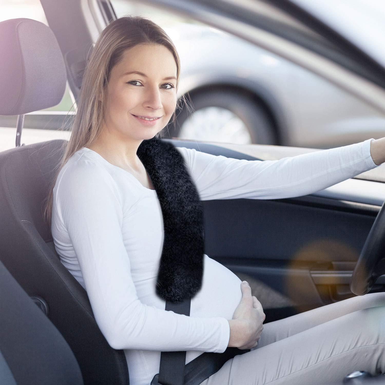 Driver Favors 4 Pieces 30 CM Faux Rabbit Wool Fur Fabrics Car Seat Belt Pads Seatbelt Protector Soft Shoulder Strap Covers Harness Pads for Comfortable Driving Short Style, Black