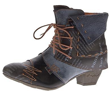 TMA Damen Stiefeletten Echtleder Knöchel Schuhe Leder Boots 6106 Schwarz Gr.  36 9a9689d5bc