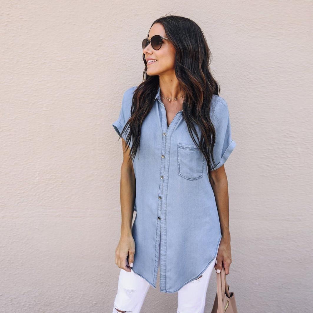 5876b48170 Longra 2018 Estate Donna retrò Vita Alta Jeans T-Shirt di Jeans a Manica  Corta con Tasche Giacca da Donna Camicia di Jeans Blu T-Shirt Estiva  Camicia ...