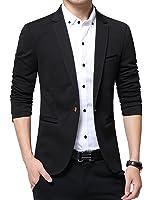 DAVID.ANN Men's Slim Fit Suits Casual One Button Flap Pockets Solid Blazer Jacket