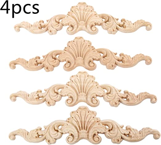 2//4PCS Wood Carved Long Onlay Applique Unpainted Flower Furniture Door Decor