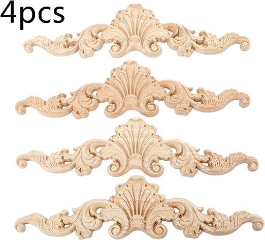 Elegant Unpainted Wooden Carved Long Applique Oak Wood DIY Craft Decor Furniture