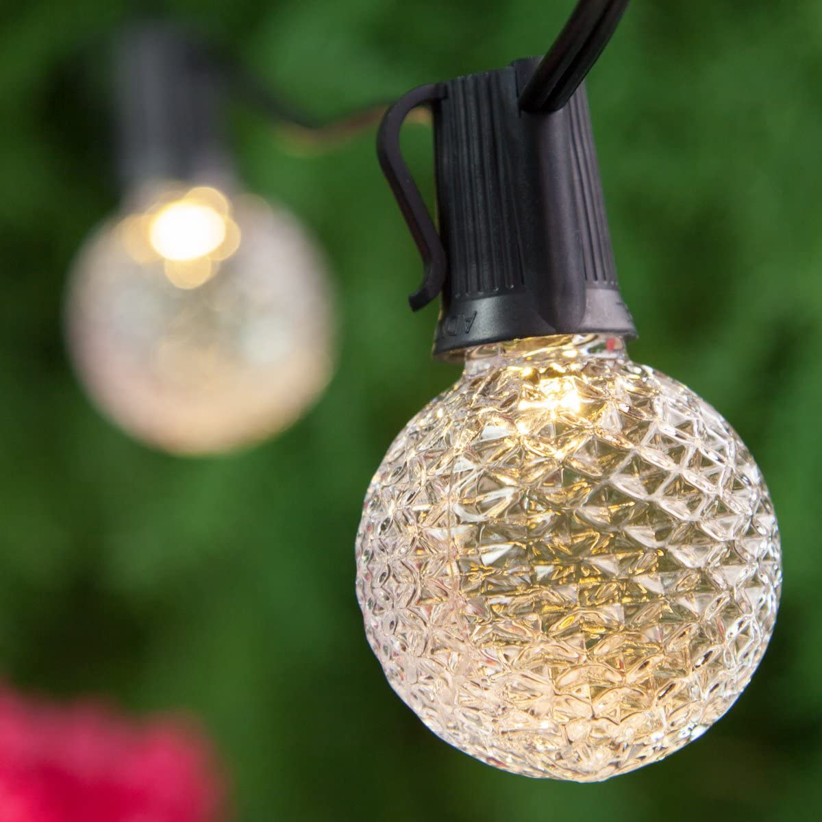 OptiCore Heavy Duty Patio Lights LED Lights Patio Lights String LED, Shatter Resistant Bulbs, Commercial LED Globe Lights 50 Lights, 50 , E17, Warm White G50 Bulbs on Black Wire