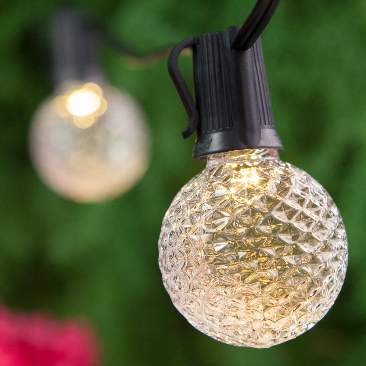 OptiCore Heavy Duty Patio Lights LED Lights Patio Lights String LED, Shatter Resistant Bulbs, Commercial LED Globe Lights (50 Lights, 50', E17, Warm White G50 Bulbs on Black Wire)