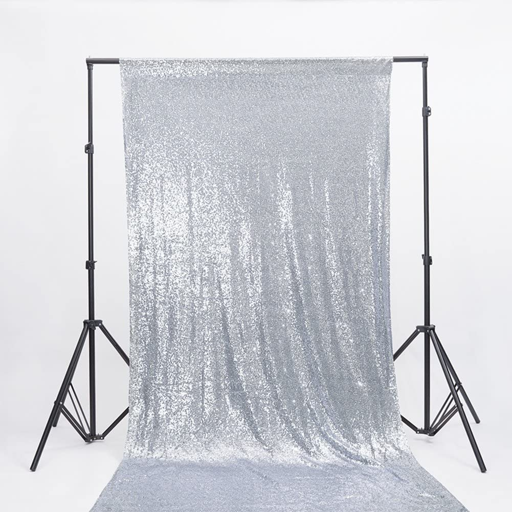 Zdada 8 by 8Ft Sparkly Rose Gold Wedding Sequin Backdrop Curtain