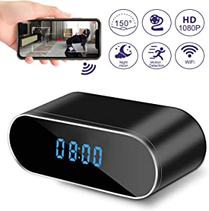 Hidden Camera Clock, WiFi Spy Camera Wireless Hidden, 1080P Nanny Cameras and Hidden Cameras with Night Vision and Motion Detective, Perfect 150 Angle Camera Alarm Clock for Home Security
