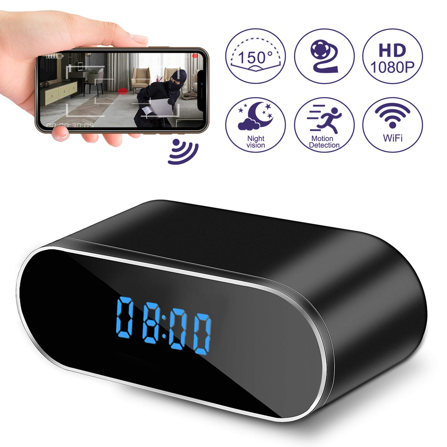 Hidden Camera Clock, WiFi Spy Camera Wireless Hidden, 1080P Nanny Cameras and Hidden Cameras with Night Vision and Motion Detective, Perfect 150 Angle Camera Alarm Clock for Home Security by Rewline