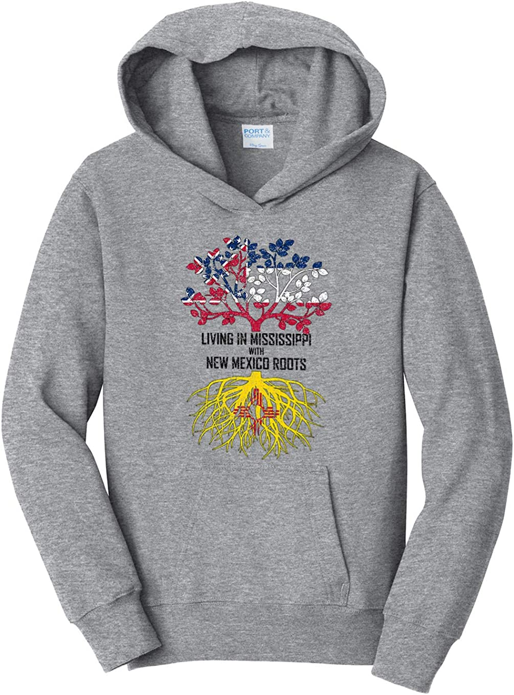 Tenacitee Girls Living in Mississippi with New Mexico Roots Hooded Sweatshirt
