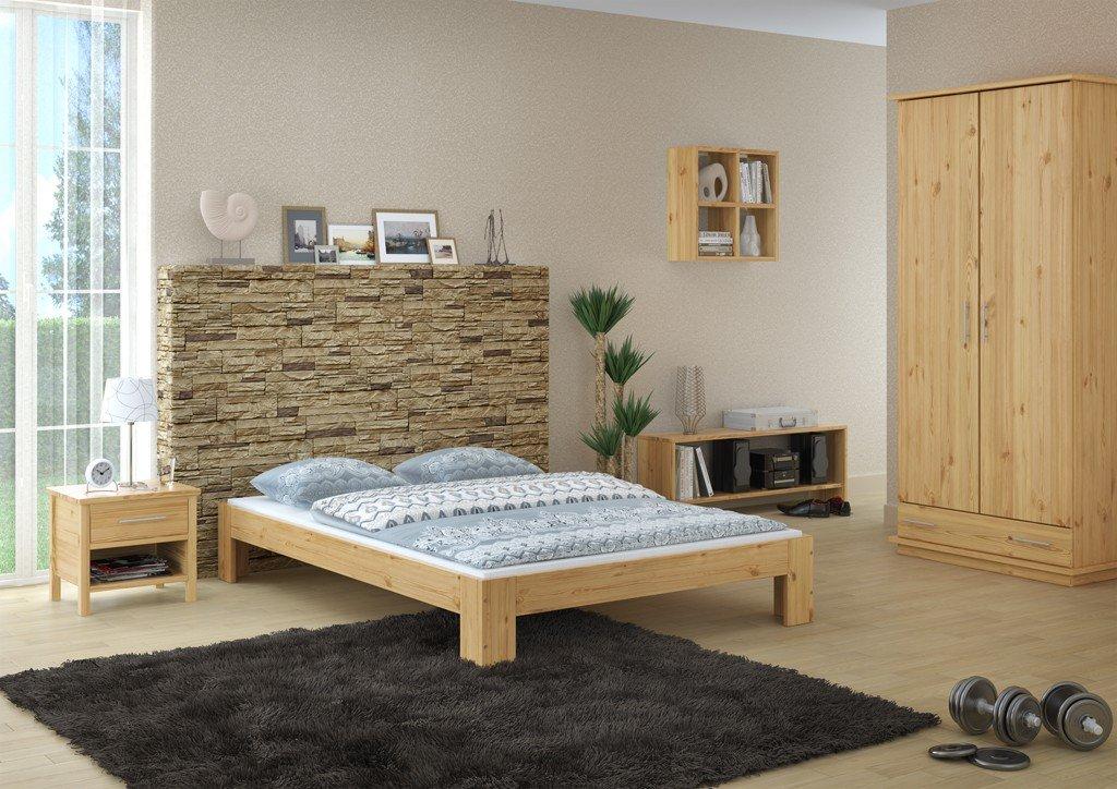 Erst-Holz Elegante Futon matrimoniale 140x200 in Pino Eco laccato con assi di legno 60.67-14