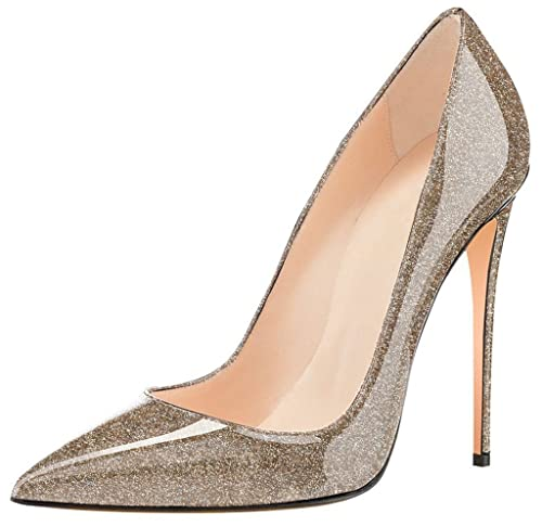 Sammitop Women s Glitter High Heels Pointed Toe Stilettos Patent Pumps  Wedding Evening Dress Shoes Gold US5