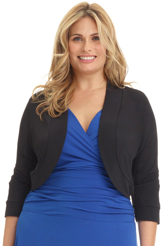 Rekucci Women's Curvy Fit Plus Size Rounded Hem Stretch Bolero Shrug (3X,Black)