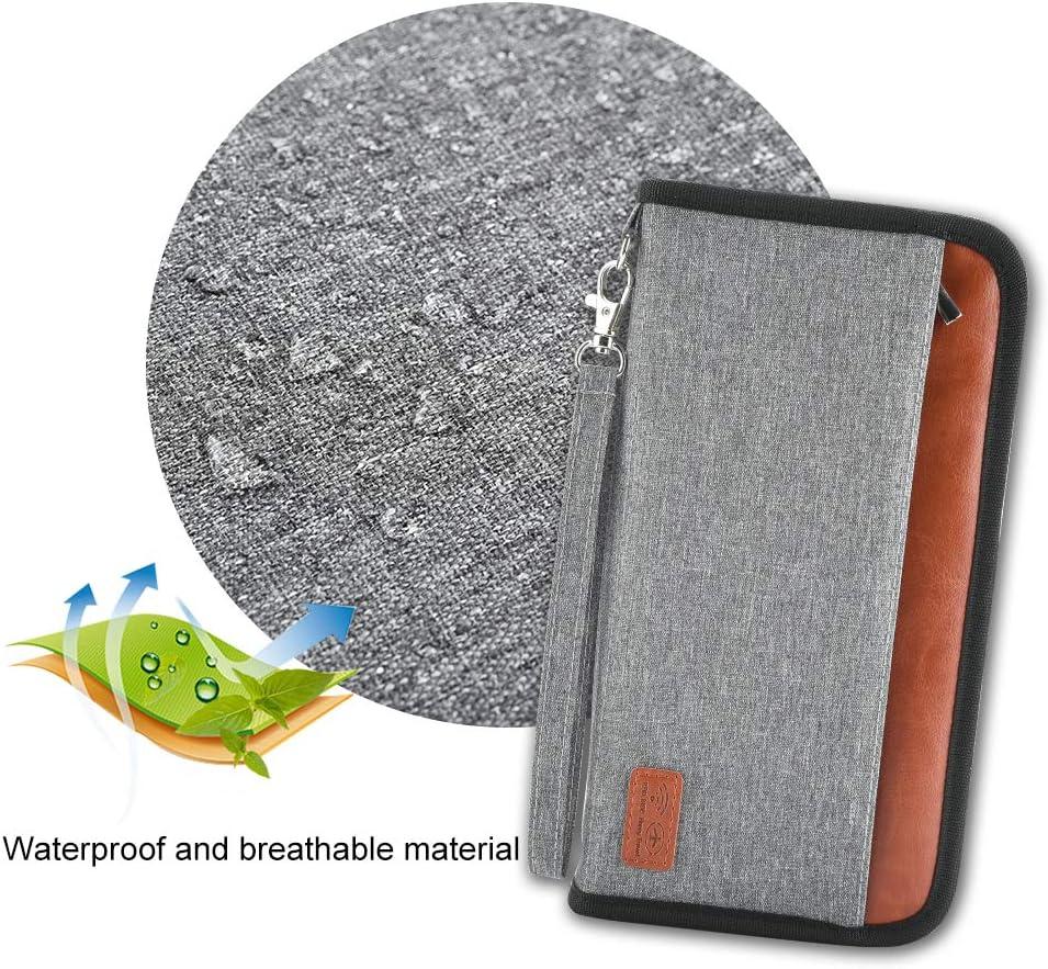 Porte-Passeport /Étanche Grande Capacit/é INSOUR Portefeuille Passeport Familial RFID Blocage Gris