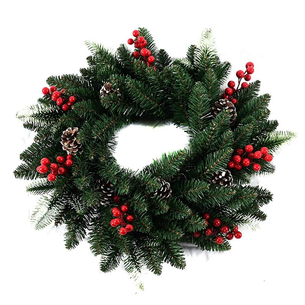 XGXQBS Corona de Navidad para la Puerta Frontal con Bayas, Conos del Pino, Garland de Navidad para Escaleras Chimenea del árbol de Navidad decoración del Partido,Verde,50cm: Amazon.es: Hogar