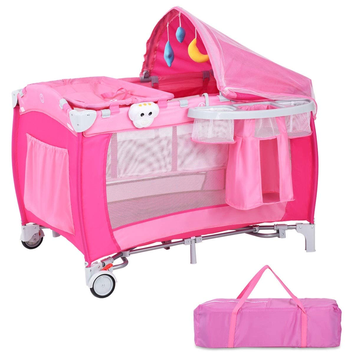 LHONE Portable Foldable Travel Baby Crib Playpen Baby 3 in One Crib Playpen Travel Playpen Changer w/Mosquito Net and Carring Bag (Pink) by LHONE (Image #7)