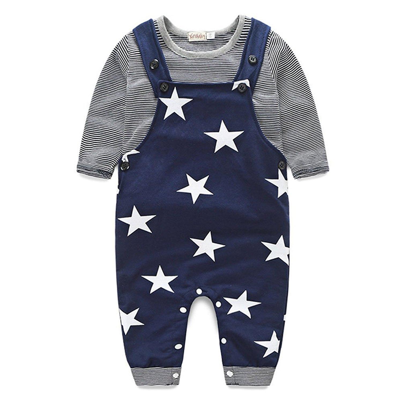 Striped T-shirt Top + Star Bib Pants Set IHRKleid® Tonsee 2er Set Frühling Herbst 2017 Jungen Kinder Bekleidung BB1123ZR