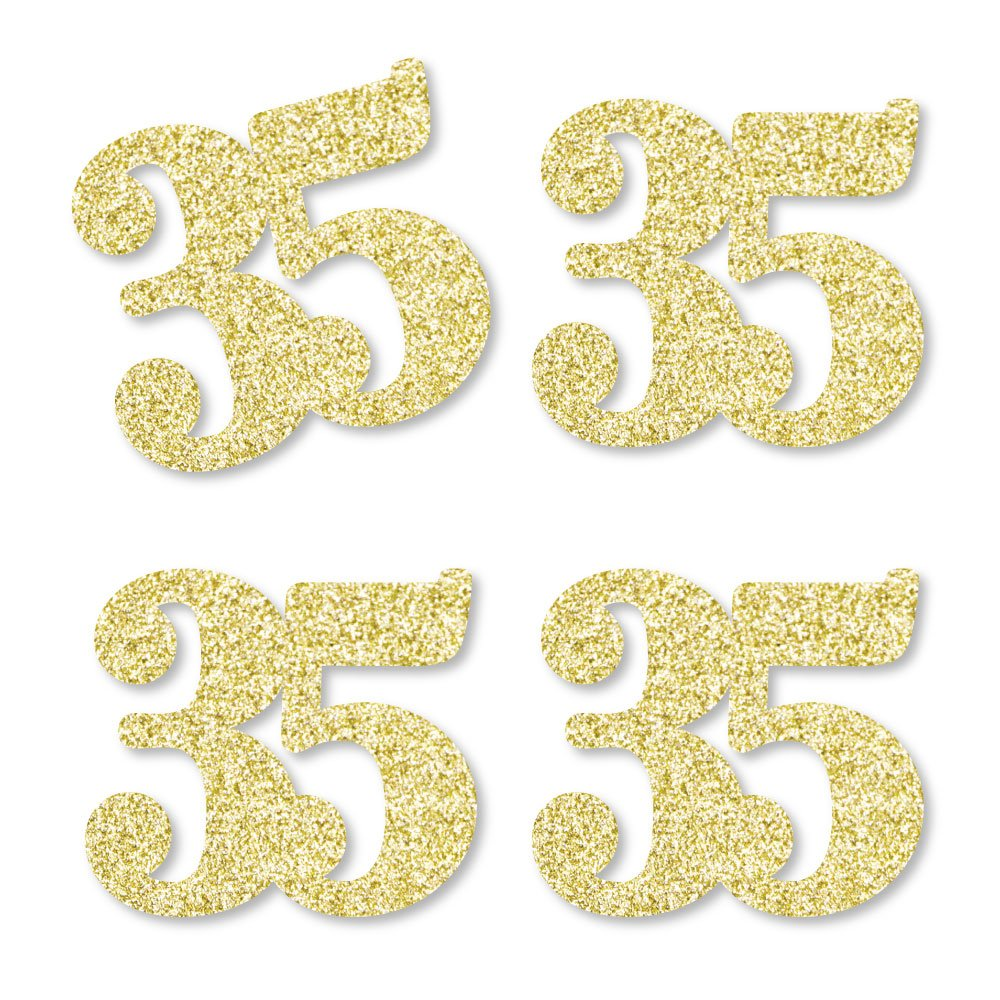 Gold Glitter 35 - No-Mess Real Gold Glitter Cut-Out Numbers - 35th Birthday Party Confetti - Set of 24